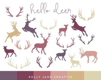 Autumn Deer & Antler Silhouette Clip Art | Reindeer | Deer Outline