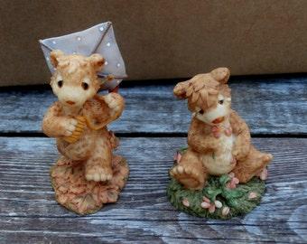Pair Westland Collectible Bears Bear For All Seasons  Circa 1995
