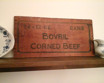 vintage 1900's Bovril Corned Beef crate wall plaque, picture, antique, wooden sign