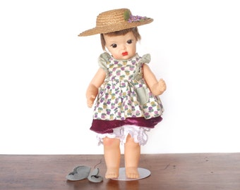"Vintage Terri Lee doll, Patent Pending 16"" hard plastic, early 1950s, homemade Southern Belle dress, felt shoes, straw hat, brunette wig"