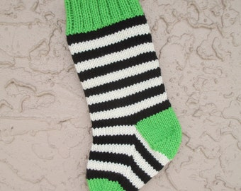 Christmas stocking hand knit in lime green, black, and off white with FREE U.S. SHIPPING bright stripes