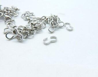 200pcs 3.5x7mm White K (Rhodium Color) Knot 3 Shape Clasps Connector  C6502