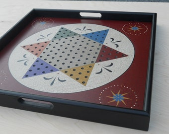 """Chinese Checkers Game Board with Tray Frame 25"""" x 25"""""""