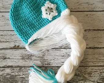 Elsa Inspired Hat/ Crochet Elsa Wig/ Available in Newborn to Child Size- MADE TO ORDER