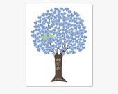 Personalized Love Birds Wedding Gift - Blue Love Tree w Green Love Birds - Print Monogram Name Date - Engagement Anniversary
