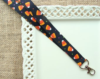 Fabric Lanyard Badge ID -  Halloween - Festive Candy Corn