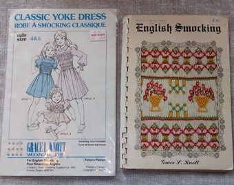 Grace L Knott English SMOCKING book & PATTERN Girl's Smocked Dress Sz 4-6