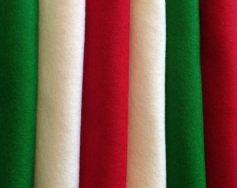 PURE WOOL FELT***Christmas Colours*** 6 X 20x30cms***Christmas Craft***Make Your Own Ornaments***Free Shipping In Australia***