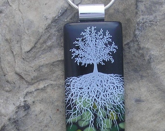 Midnight Tree of Life Necklace Fused Glass Tree Pendant
