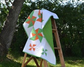 Baby Quilt, Green and Orange Pinwheels, Modern Baby Blanket 36x47
