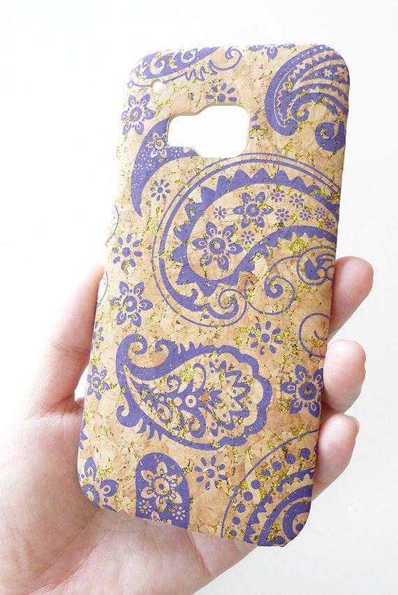 HTC make your own htc phone case : HTC One M9 Purple Violet Paisley Glitter Wood Cork Phone Mobile Case ...