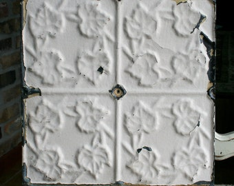 "12"" Antique Tin Ceiling Tile -- Cream Colored Paint -- Small Repeating Leaf Design"