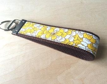 Fabric wristlet keychain, key fob - Yellow Peony