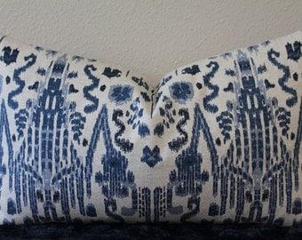 Kuma Ikat Print in Navy by Pindler & Pindler - Lumbar Sizes - Navy and Oatmeal  -  Designer Lumbar Pillow Cover