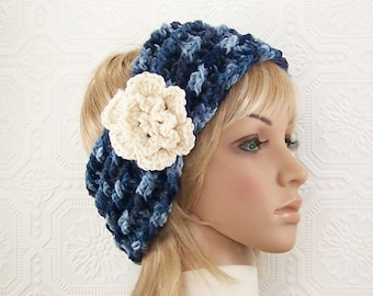 Crochet headband, head wrap, ear warmer - denim color mix - ski band - adult headband with flower women's winter accessories ready to ship