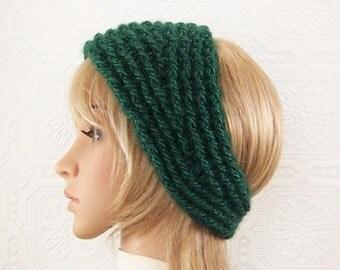 Crochet headband, head wrap, ear warmer - forest green - adult headband women's accessories green headband winter fashion - ready to ship