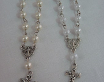 Mini Rosaries (Package of 20)- WHITE or IVORY/CREAM