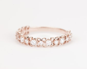 CERTIFIED - E-F, VVS - VS Diamond Wedding Band 14K Rose Gold