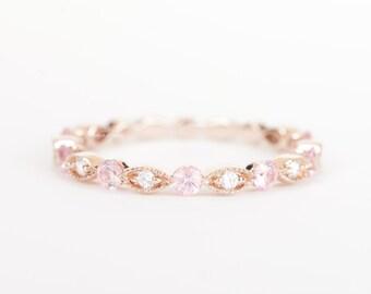 CERTIFIED - E-F, VVS - VS Diamond & Pink sapphire Wedding Band 14K Rose Gold
