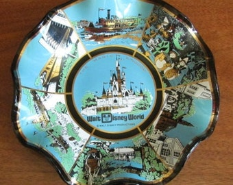 "Vintage Walt Disney Productions ""Magic Kingdom Walt Disney World"" Souvenir Glass Dish - Memorabilia - Ashtray - Candy Dish - Nut Bowl"