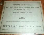 1944 Chevrolet Lot Net Price Confidential Dealers Suggested List Prices Vintage Automobile Ephemera Dealership Reference Brochure