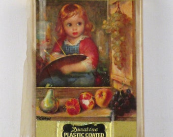 1960s Duratone Plastic Playing Cards Unopened in Original Case Single Deck Little Girl