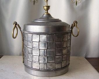 Vintage Pewter Ice Bucket Silver Plate Liner Basket Weave Design Brass Handles Vintage 1980s