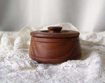 Vintage Wood Trinket Box Hand Crafted Turned Wood Walnut Box 1990s