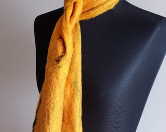 Golden yellow wet felted merino wool scarf with hints of black silk 'Sunflower'