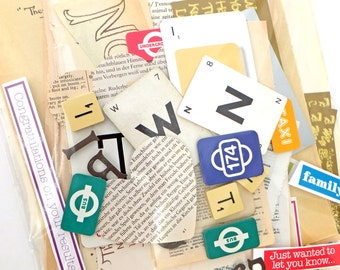 Words, Language, Letters Scrap Pack, Collage papers, Over 65 pieces, Eco-friendly Paper Ephemera pack, scrap pack, supplies, Scrap-booking