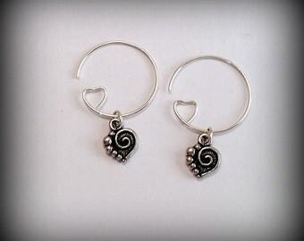 Silver Heart Hoop Earrings - Heart Charm