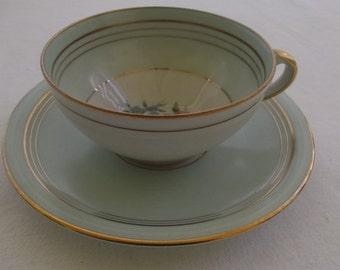Vintage Tea Cup and Saucer, Charles Ahrenfeldt, Limoges France, Soft Green Band with Pink and Blue Floral