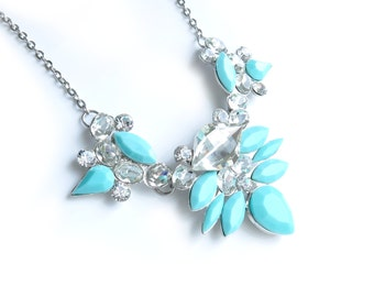 Aqua Blue Silver Statement Necklace - Ready to Ship