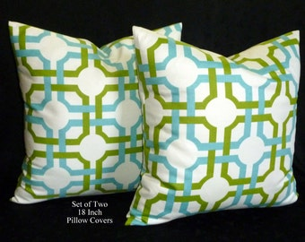 Pillows, Home Decor, Accent Pillows, Throw Pillows, Pillow Covers - Groovy Grille - Lime and Blue on White - Two 18 Inch