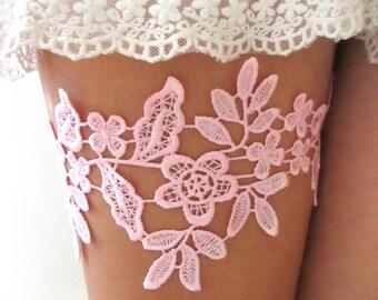 Pink Lace Garter Set Bridal Garter Wedding Garter Belt Bridal Garters Lace Romantic Garter : ELIZA Lace Garter