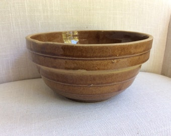 "Vintage 8"" USA Brown Pottery Mixing Bowl"
