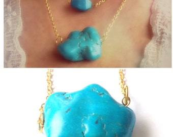 Chunky turquoise stone necklace