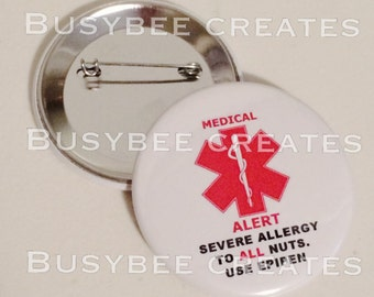 Personalized Button Pin/ Keychain/ Bag Tag Allergy Alert 5 pcs