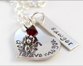 Personalized Mother Necklace in Sterling Silver with Name & Birthstone | God Gave Me You Sterling Silver Name Heart and Tag
