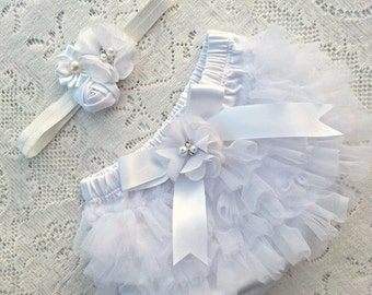 White Vintage Chiffon Baby bloomer ruffles tutu and headband set. Diaper cover Newborn, infant, toddler tutu Christening baptism 0-18 months