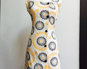 Vintage 60s black, white, yellow floral cotton sundress by Beeline Fashions, size small