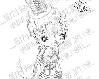 INSTANT DOWNLOAD Digi Stamp Includes Sentiment Kawaii Steampunk Scarlett 'The Bat' Pelkington ~ Image No.251 by Lizzy Love