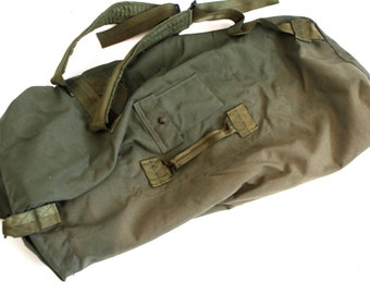 vintage ARMY huge BACKPACK giant tote OLIVE rucksack