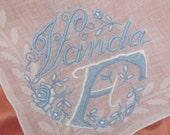 Solid White Blue Madeira Cotton Hankie Monogrammed Vanda F