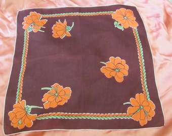 Beautiful Large Brown Floral Cotton Hankie Handkerchief