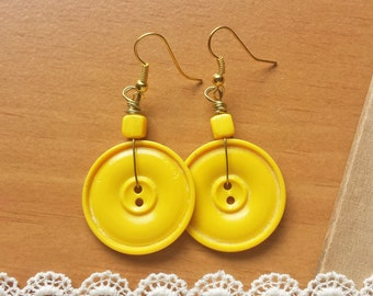 Yellow Flower Earrings, Upcycled Button Earrings
