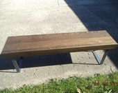 """bench wooden bench coffee table  industrial and steel  bench with raw steel legs 14"""" deep media bench"""