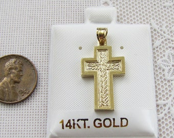 Solid 14K Gold Cross Pendant with etched leaves
