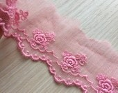 Bright Pink Tulle Lace Rose Embroidered Tulle Lace Trims 2.36 Inches Wide 3 yards