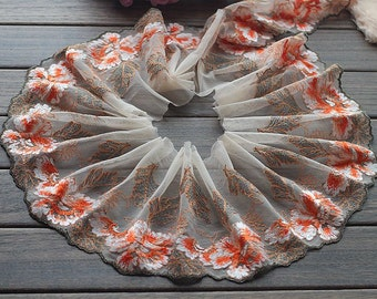 2 Yards Lace Trim Flowers Embroidered Tulle Lace 5.9 Inches Wide High Quality